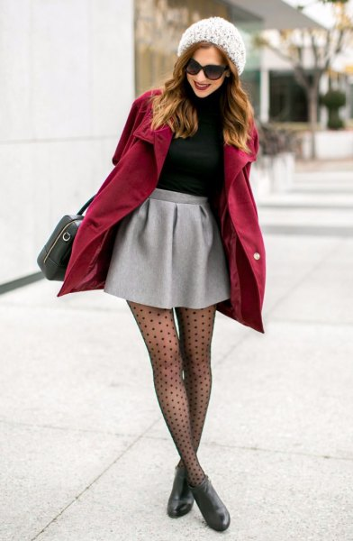burgundy long jacket over mini skirt