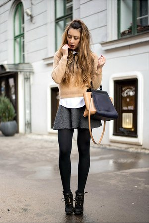 crepe-fitted sweater with mini wool skate skirt