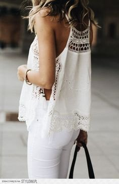 white crochet lace top with matching slim jeans