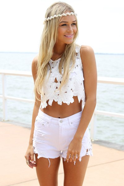 white cropped floral embroidered tank top with matching denim shorts