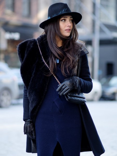 navy ribbed sweater dress with black fur coat
