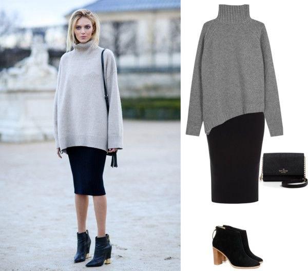 gray turtleneck chunky sweater with black midi bodycon skirt