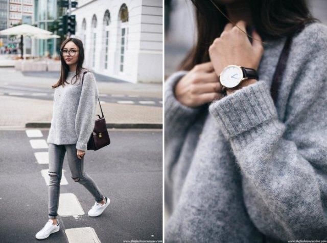fuzzy knit sweater with gray skinny jeans