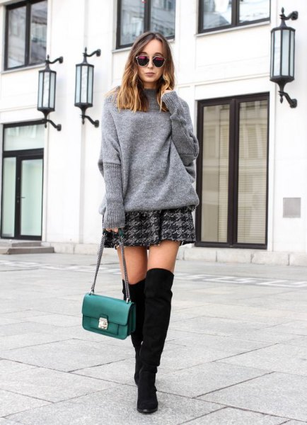 gray sweater with checkered skater skirt