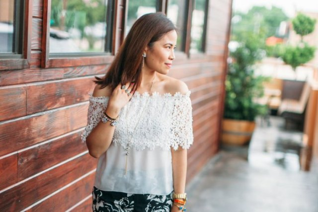 white from shoulder half lace and chiffon top with black floral printed skirt