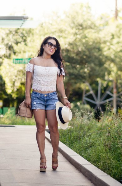 white cropped off shoulder lace top with blue denim shorts