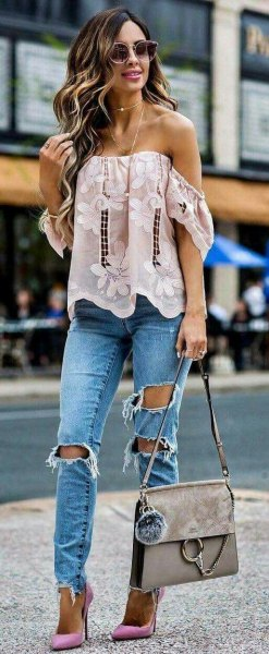 white from the shoulder floral embroidered top with boyfriend jeans