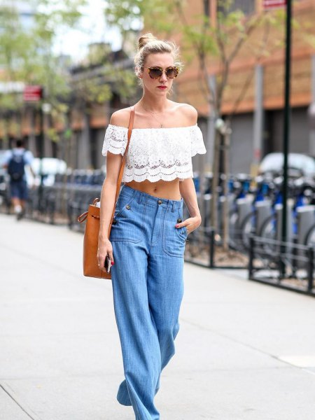 white lace from the shoulder crop with wide leg blue jeans