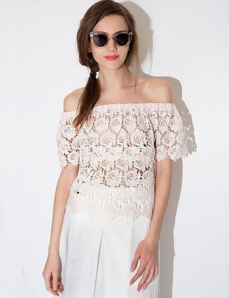 semi sheer lace top with wide leg white linen trousers