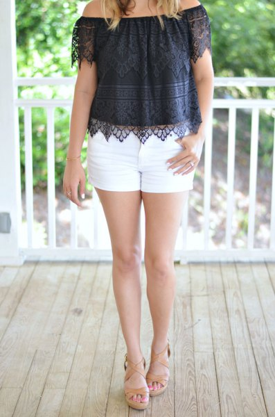 black from shoulder lace top with white mini shorts