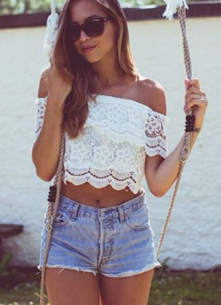 white from the shoulder crop with light blue mini shorts