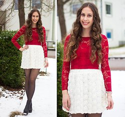 red long-sleeved lace top with white waist in high waist