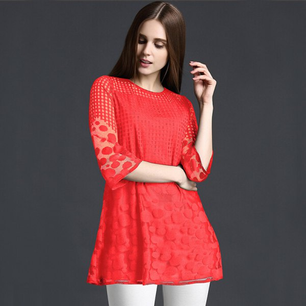half-heated red peplum top with white skinny pants