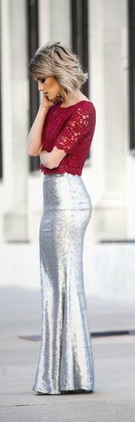 red form fitting short sleeve top with silver virgin skirt