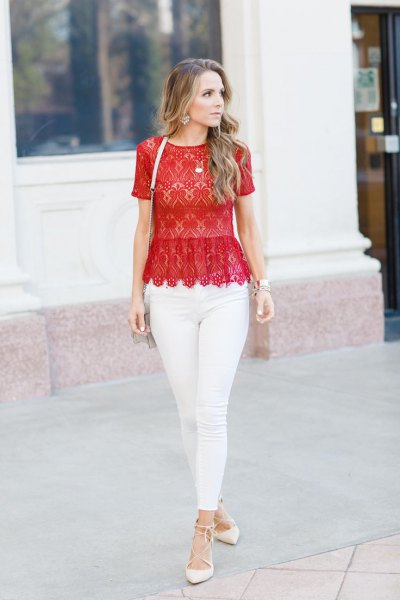 red lace, peeled top at bottom with white skinny jeans
