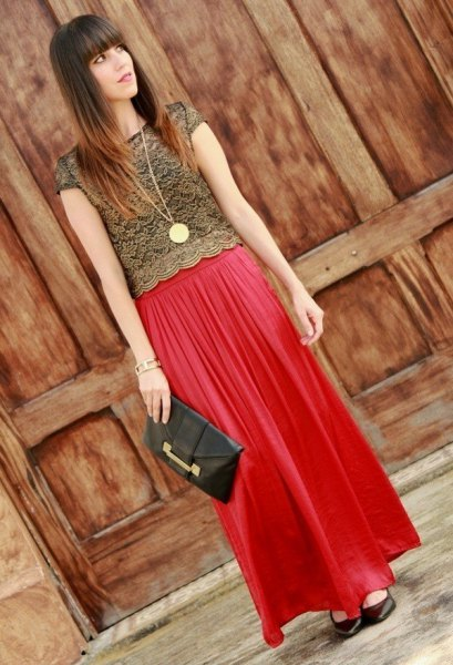 red lace top with matching maxi pleated chiffon skirt