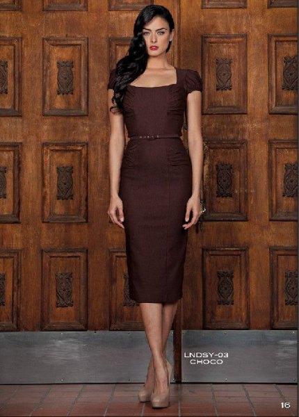 chocolate brown belt midi dress