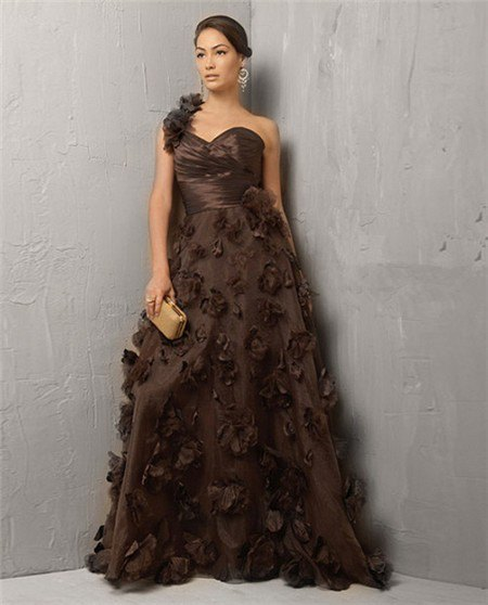chocolate brown, strapless fit and floor length flare