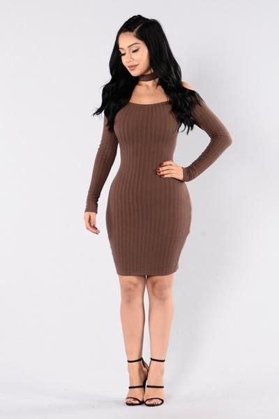 ribbed brown matching mini sweater dress