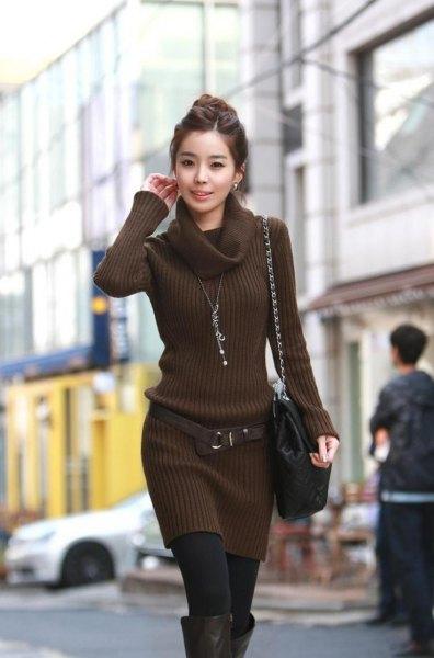 chocolate brown turtleneck belt sweater dress