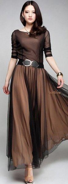 belt brown chiffon pleated maxi dress