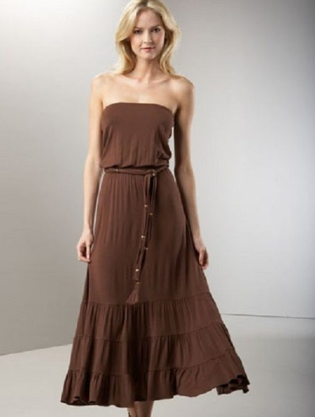 brown tube coated maxi bridesmaid dress