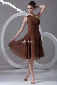 simple strap one shoulder chiffon bridesmaid dress