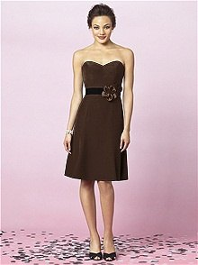 brown fit and flare strapless knee-length bridesmaid dress
