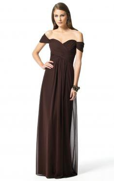 dark brown from the shoulder maxi bridesmaid dress