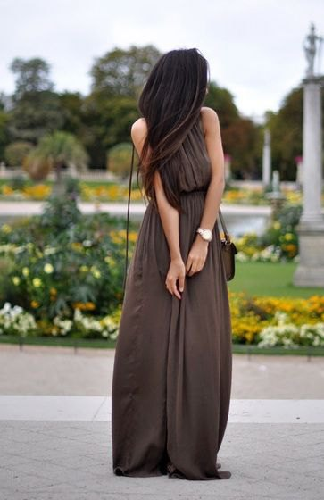 brown pleated collar waist max windy dress