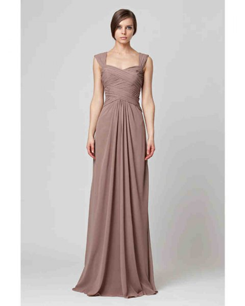 coffee brown maxi blown pleated bridal gown