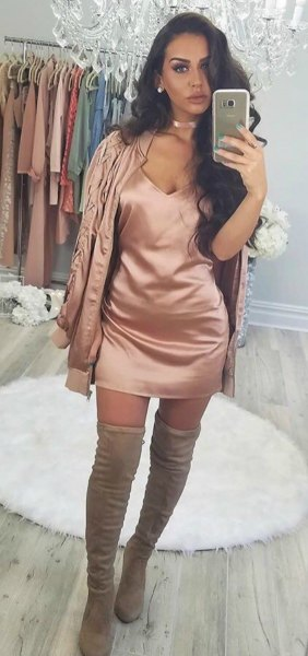 pink gold silk deep v-neck mini bodycon skirt with matching jacket