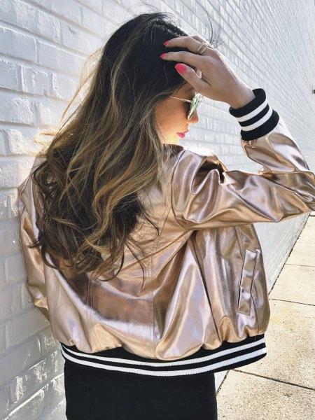 metallic baseball jacket with black mini shift dress