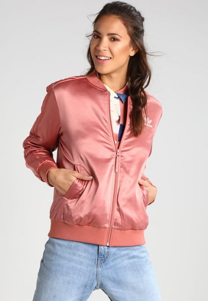 pink sports jacket with light blue boyfriends