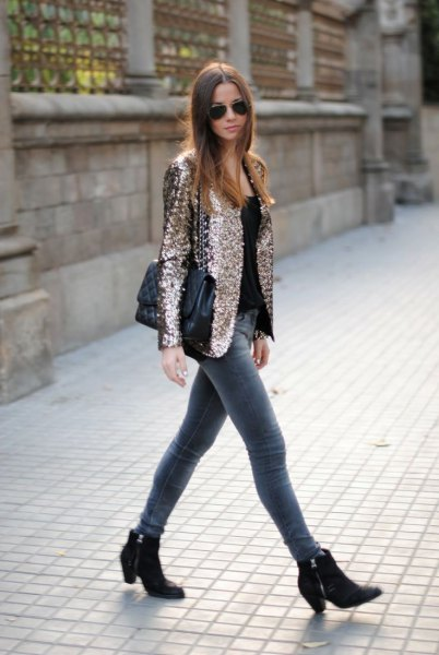 pink gold sequin blazer jacket with gray skinny jeans