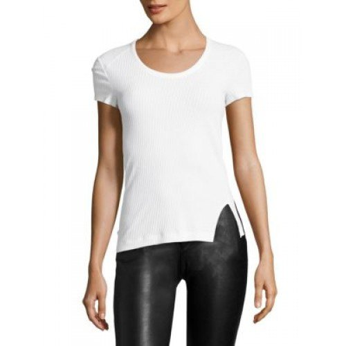 white form tee with black leather leggings