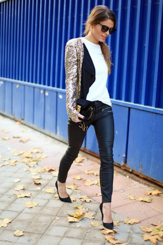 gold sequin jacket with black leather leggings