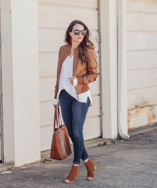 brown leather jacket with white chiffon blouse and open toe boots