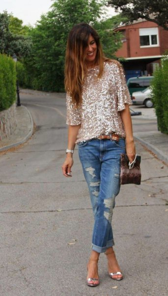 pink gold half-heated sequin shirt with ripped cuffed jeans