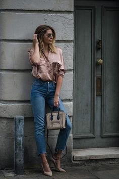 pink gold short sleeve shirt with cropped high rise