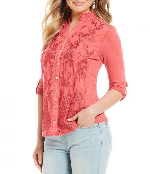 floral embroidered shirt with light blue skinny jeans
