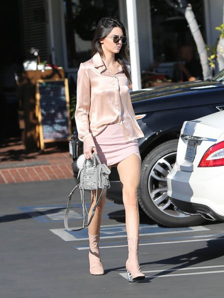 rose gold silk shirt with light blue mini shift dress