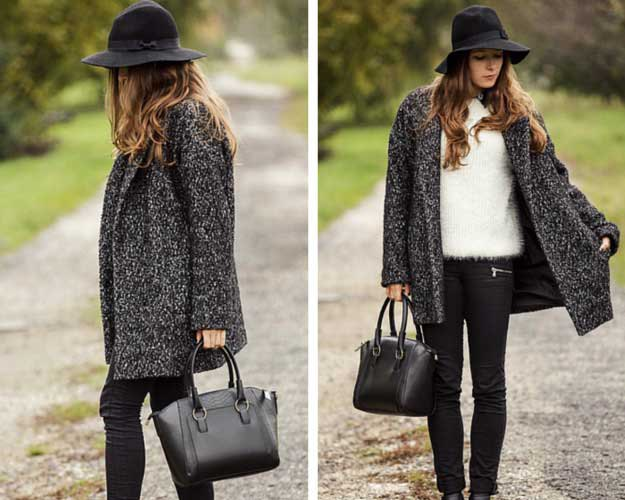 Heather gray sweater skirt with black floppy hat and skinny jeans