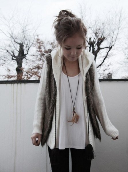 white cable knit sweater jacket with tee scoop