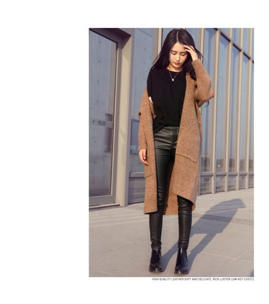 camel long sweater jacket with black leather leggings