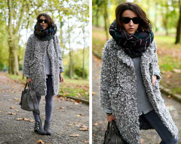 Heather gray fuzzy sweater jacket with skinny jeans