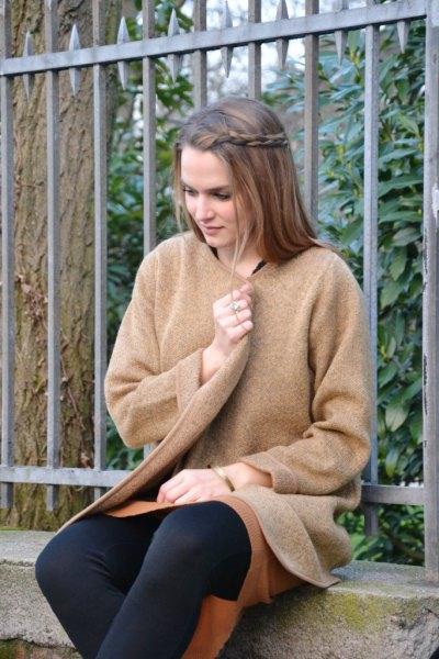 camel sweater skirt with black leggings