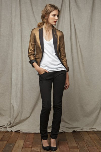 gold slim fit blazer with white vest top and black skinny jeans