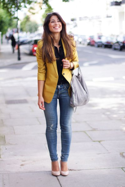 gold non-shiny blazer with black blouse