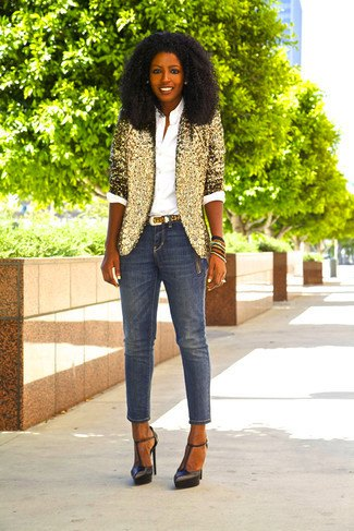 gold sequin half-heated blazer with cropped slim jeans